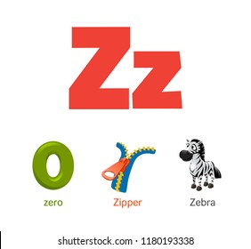 Cute children ABC animal alphabet flashcard words with the letter Z for kids learning English vocabulary.