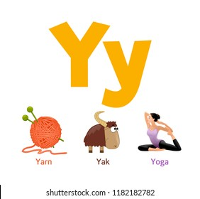 Cute children ABC animal alphabet flashcard words with the letter Y for kids learning English vocabulary.