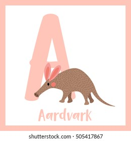 Cute children ABC animal alphabet A letter flashcard of walking Aardvark for kids learning English vocabulary.