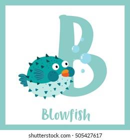 Cute children ABC animal alphabet B letter flashcard of blue Blowfish for kids learning English vocabulary.