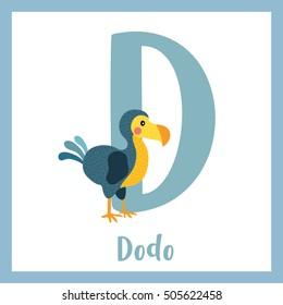 Cute children ABC animal alphabet D letter flashcard of Dodo bird for kids learning English vocabulary.