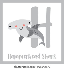 Cute children ABC animal alphabet H letter flashcard of Hammerhead Shark for kids learning English vocabulary.