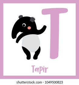 Cute children ABC animal zoo alphabet T letter flashcard of Tapir standing on two legs for kids learning English vocabulary. Vector illustration.