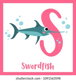 Cute children ABC animal zoo alphabet S letter flashcard of Swordfish for kids learning English vocabulary. Vector illustration.