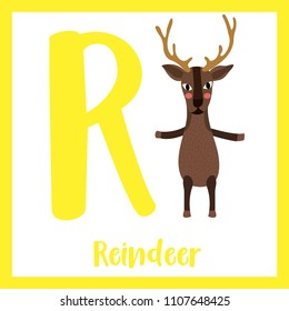 Cute children ABC animal zoo alphabet R letter flashcard of Reindeer standing on two legs for kids learning English vocabulary. Vector illustration.