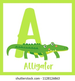 Cute children ABC animal zoo alphabet A letter flashcard of Green Alligator for kids learning English vocabulary. Vector illustration.