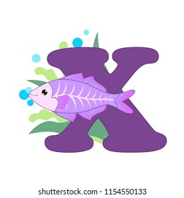 Cute children ABC animal zoo alphabet X letter flashcard of X-Ray fish for kids learning English vocabulary. Vector illustration.