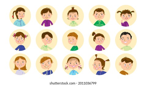 Cute children avatar characters. Vector set of cartoon userpic icon.