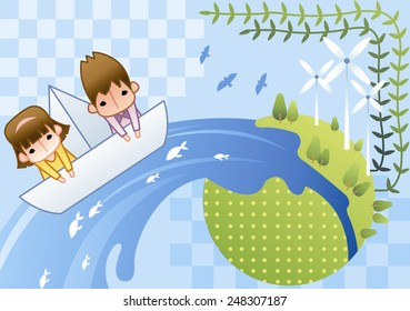 Cute Children in boat on earth and nature on a background with blue sky : vector illustration