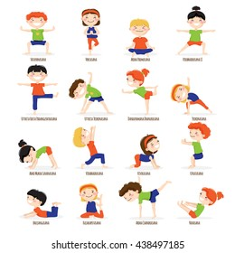 Cute children boys and girls in top yoga asanas poses cartoon icons collection set isolated vector illustration