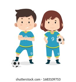 Cute children characters Football player. Costume