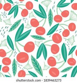 Cute Children Cherry Yummy vector Pattern.