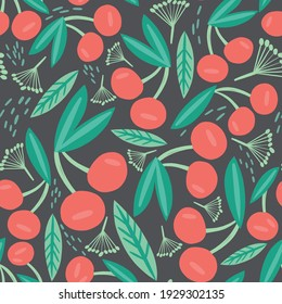 Cute Children Cherry Yummy vector Pattern.Sweet childish seamless pattern with cherry and leaves. Seamless pattern can be used for wallpapers, pattern fills, web backgrounds.