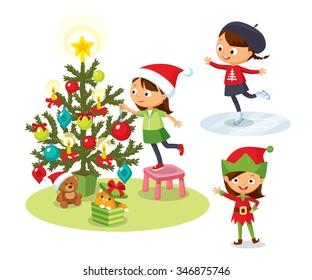 cute children christmas hollidays