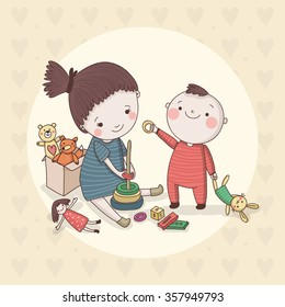Cute children with different toys. Vector characters.