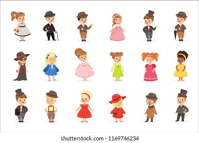 Cute children in elegant clothes for official social events. Kids in historical costumes cartoon colorful Illustrations