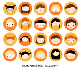 Cute children face avatars in circles in flat style - girls and boys heads