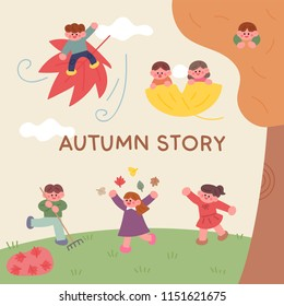 Cute children are falling down and playing with their friends. A fairy tale atmosphere flat design style vector graphic illustration set