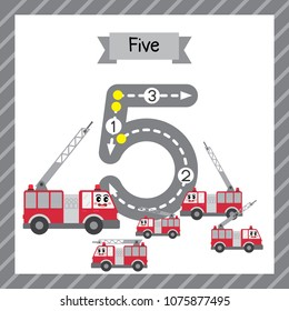 Cute children Flashcard number five tracing with 5 Fire Engines for kids learning to count and to write.