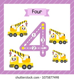 Cute children Flashcard number four tracing with 4 Cranes for kids learning to count and to write.