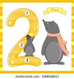 Cute children Flashcard number one tracing with 1 mole for kids learning to count and to write. learning the numbers 0-10, Flash Cards, educational preschool activities, worksheets for kids.
