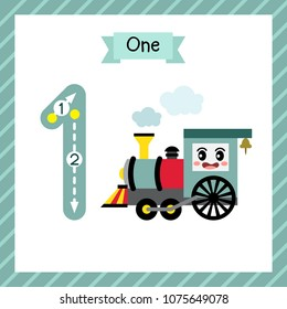 Cute children Flashcard number one tracing with 1 Steam Trains for kids learning to count and to write.