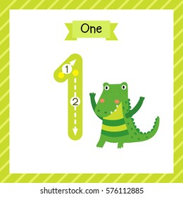 Cute children Flashcard number one tracing with 1 Alligator for kids learning to count and to write.