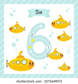 Cute children Flashcard number six tracing with 6 Submarines for kids learning to count and to write.