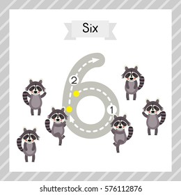 Cute children Flashcard number six tracing with 6 Raccoons for kids learning to count and to write.