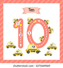 Cute children Flashcard number ten tracing with 10 Yellow Taxi for kids learning to count and to write.