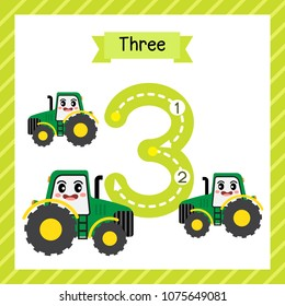Cute children Flashcard number three tracing with 3 Tractors for kids learning to count and to write.