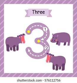 Cute children Flashcard number three tracing with 3 Hippopotamus for kids learning to count and to write.