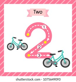 Cute children Flashcard number two tracing with 2 Bicycles for kids learning to count and to write.