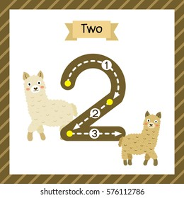 Cute children Flashcard number two tracing with 2 Alpacas for kids learning to count and to write.