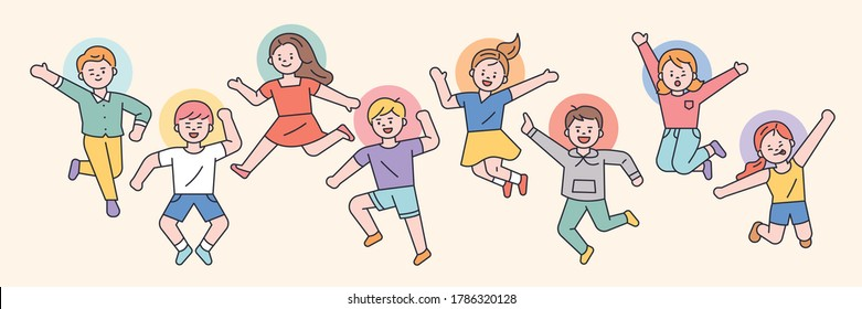 Cute children are jumping happily. flat design style minimal vector illustration.
