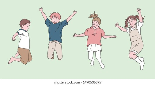 Cute children are jumping with joyful expressions. hand drawn style vector design illustrations.