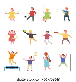 cute children play exercise vector illustration flat design
