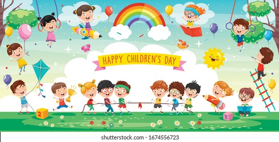 Cute Children Playing At Abstract Nature - Shutterstock ID 1674556723