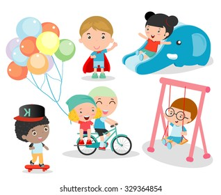 cute children playing with toys in playground, children in the park,  happy cartoon kids playing, kids time isolated on white background, Vector Illustration.