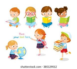 cute children reading books