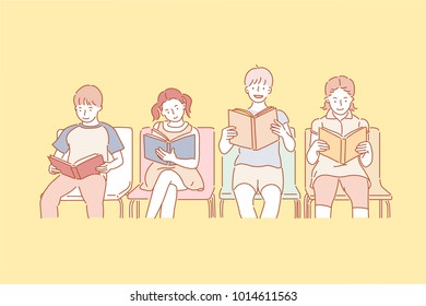 cute children reading books together in chairs. hand drawn style vector doodle design illustrations.