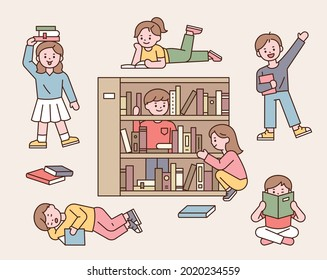Cute children are reading or playing around bookshelves. outline simple vector illustration.