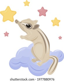 Cute children s illustration, a chipmunk sitting on a cloud, reaching for a star in the sky. Cute fairy-tale animal Gopher. A bright illustration of a squirrel for children s prints . Vector.