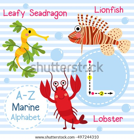 cute children sea alphabet flashcard funny のベクター画像素材