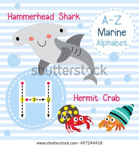 Cute Children Sea Alphabet Flashcard Funny Stock Vector (Royalty ...