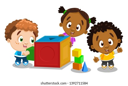 Cute children select matching shape and color for cube. Multiracial boys and girl playing, studing geometric forms. Early childhood education. Vector cartoon illustration isolated on white background