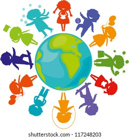 Cute children silhouettes around the World. Earth Planet with colored children silhouettes.