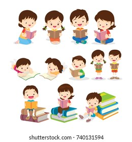 Cute Children Sitting while Reading Books.set of Childrens reading book various actions.