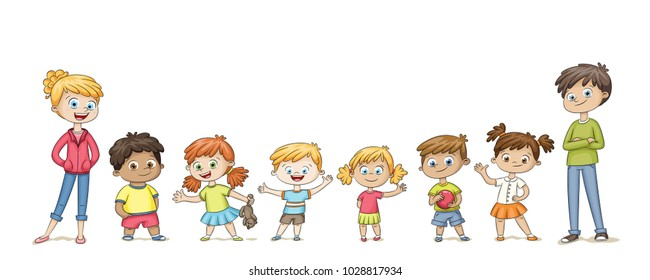 Cute children standing in a row and wave. Funny cartoon character. Isolated on white background.