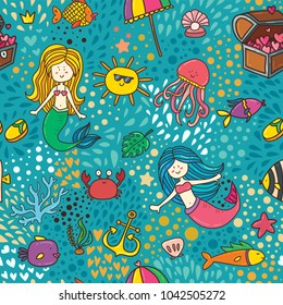 Cute children textile seamless pattern background with underwater magic life, mermaids, treasure, crab and fishes. Sweet summer vector illustration for wallpaper and card print design